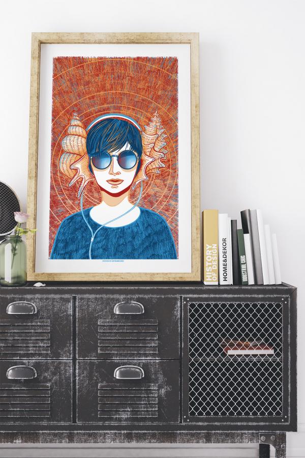 Seashell Girl Art Print