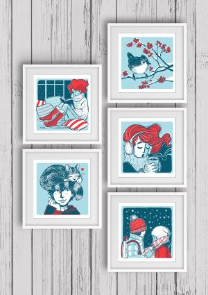 Stay Warm, 5 Art Prints set