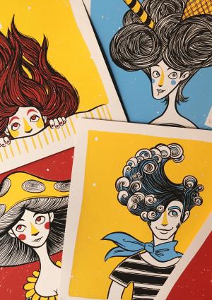 Faces Faces Art PrintArt Print